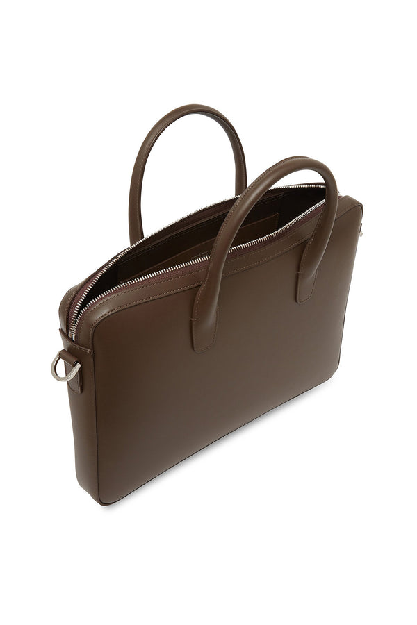 Chocolate Leather Briefcase by Mansur Gavriel
