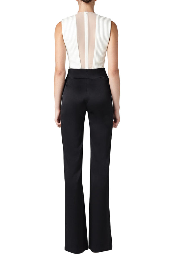 Black trouser and white top tuxedo jumpsuit by Galvan London