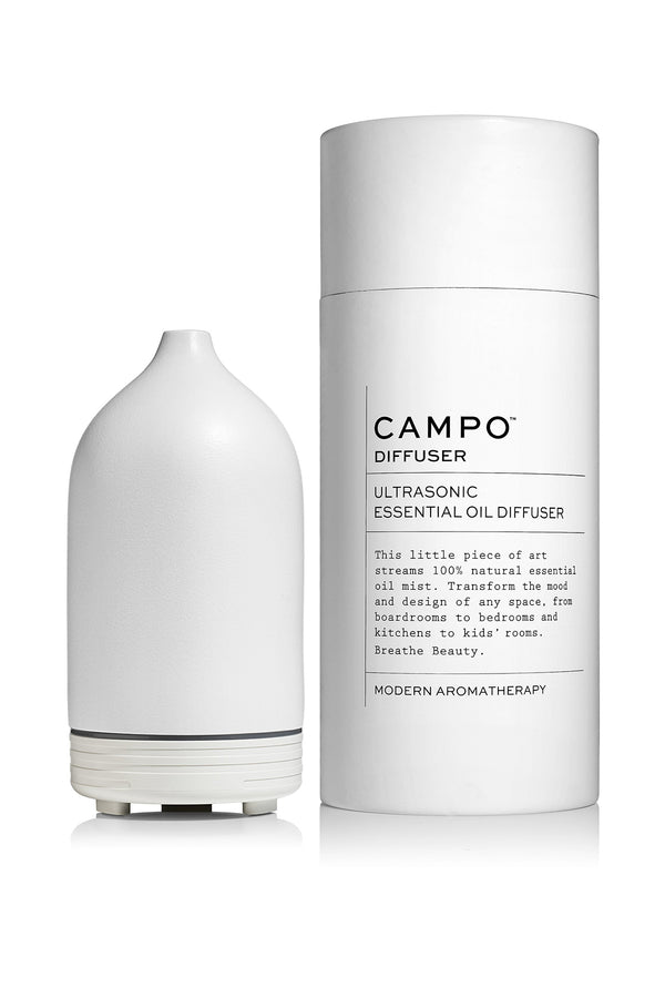 White ceramic essential oil diffuser by Campo Beauty