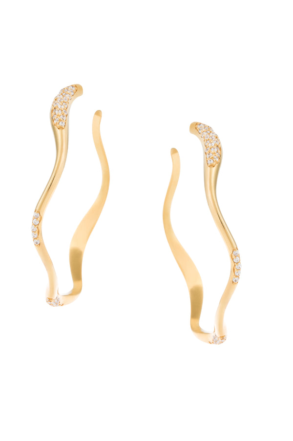 Gold Plated Feminine Waves Pave Hoop Earrings | Joanna Laura Constantine