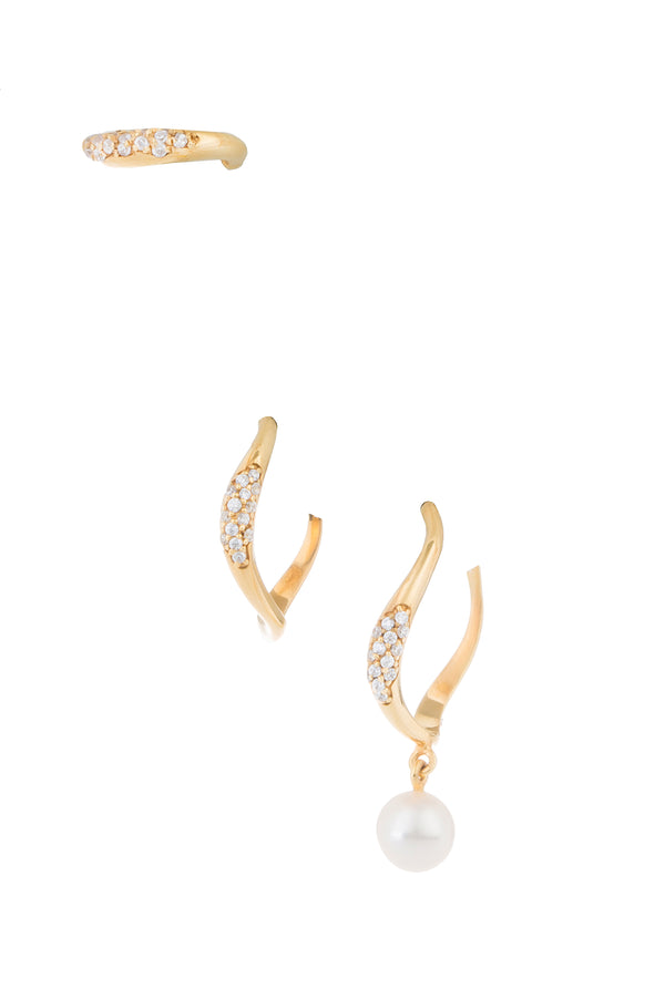 Set of 3 Feminine Waves Pave Hoop Ear Set | Joanna Laura Constantine