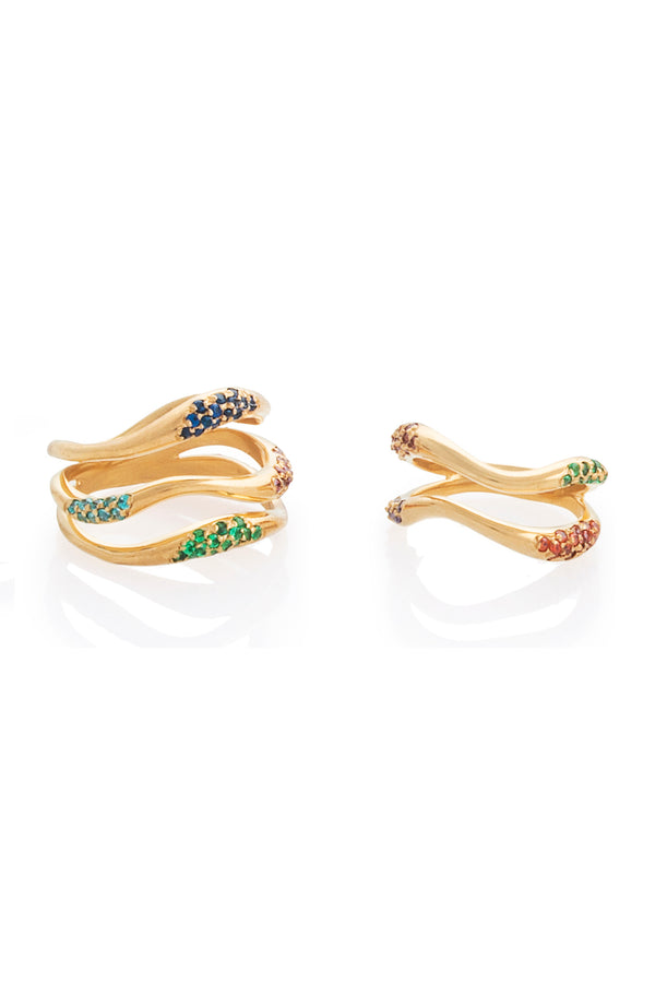 Feminine Waves Set of 2 Multi Colored Pave Rings | Joanna Laura Constantine