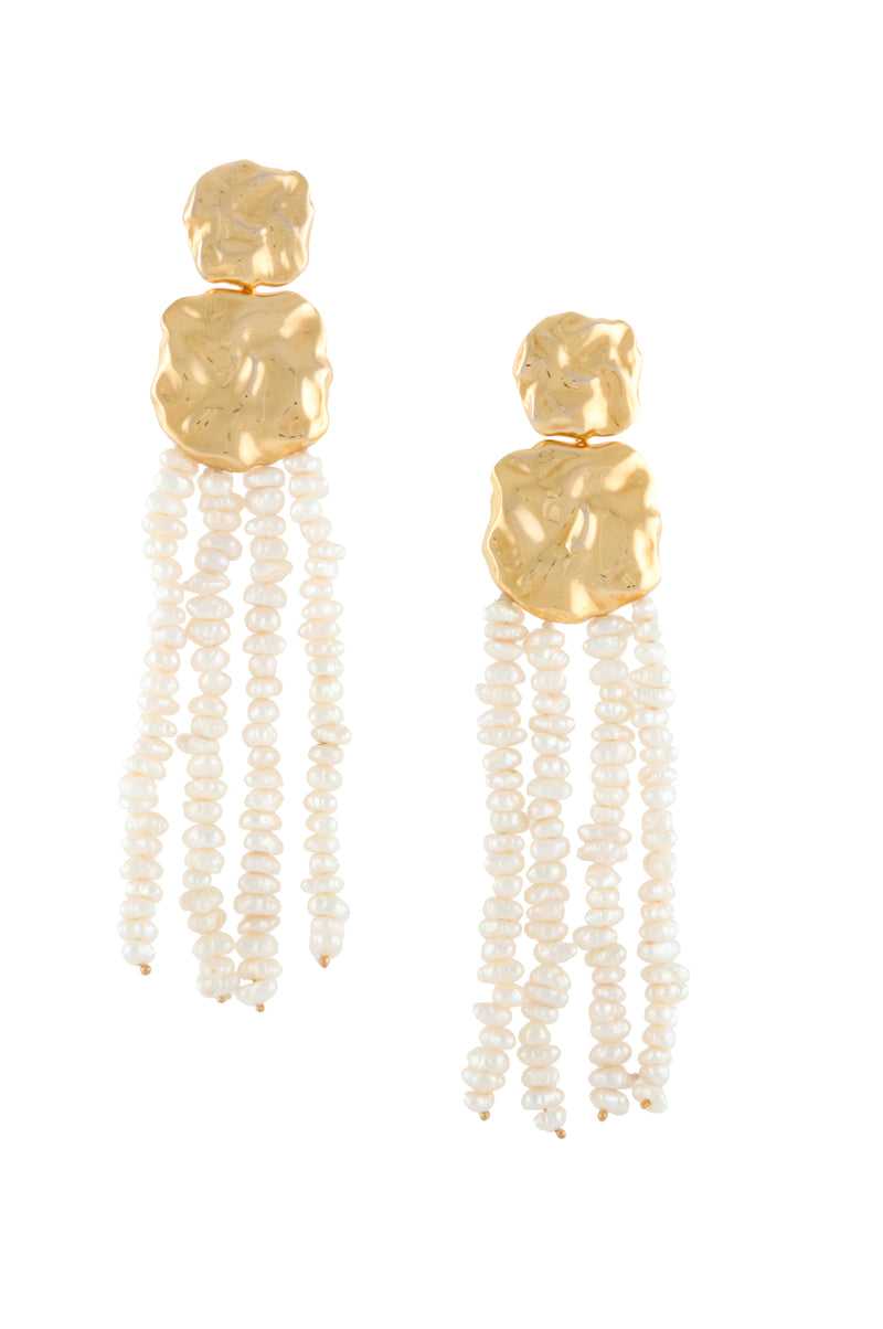 Hammered Earrings with Dangling Pearls | Joanna Laura Constantine