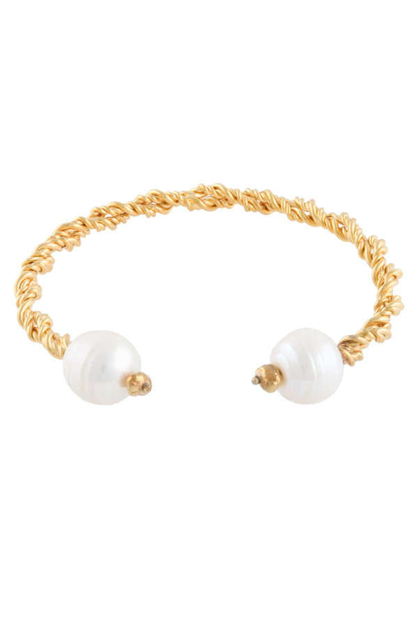 Gold Plated Twisted Bangle With Pearls | Joanna Laura Constantine
