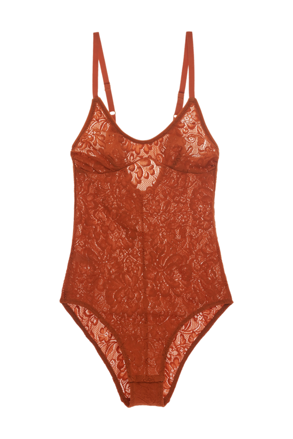 Wen Bodysuit from Araks in Terracotta brown lace