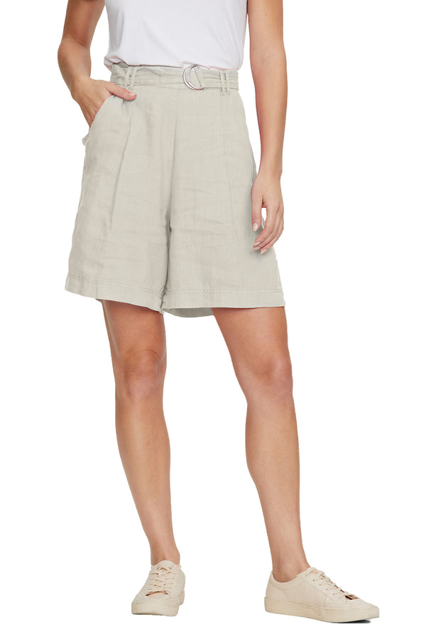 Front view of Sybil Linen Bermuda Short in Castle