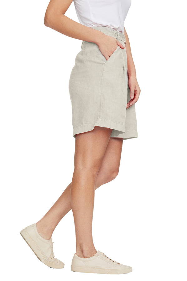 Side view of Sybil Linen Bermuda Short in Castle