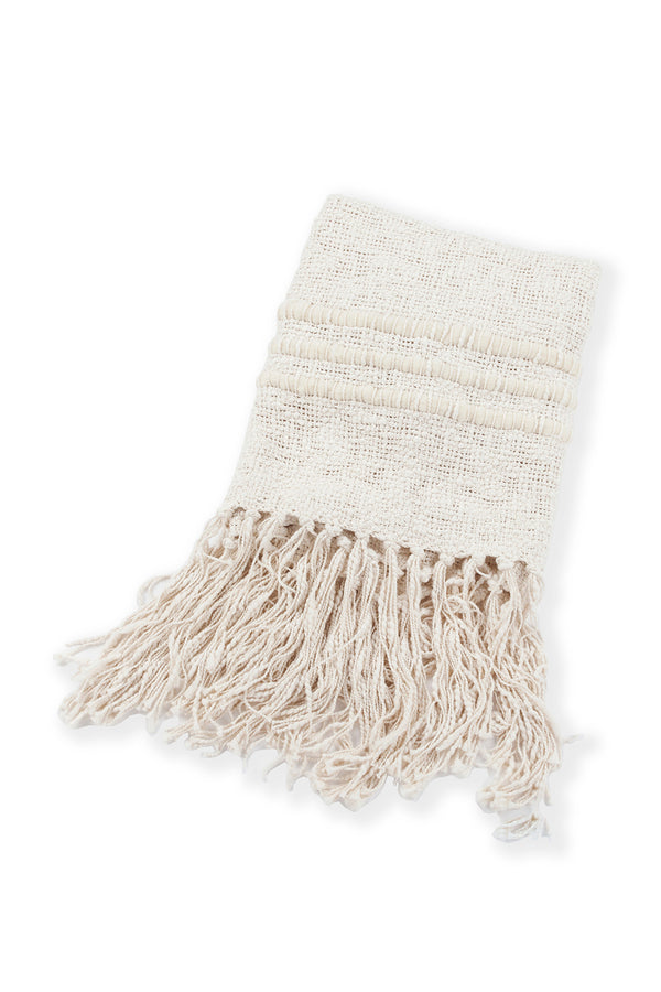Alma Handwoven Cotton Throw in Ivory by Sien + Co