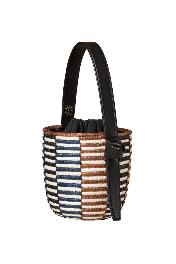 Core Checkerboard Lunchpail woven bucket bag by Cesta Collective
