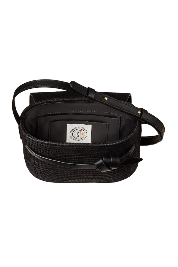 Black basket and black leather crossbody bag by Cesta Collective