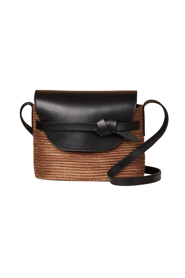 Camel basket and black leather crossbody bag by Cesta Collective