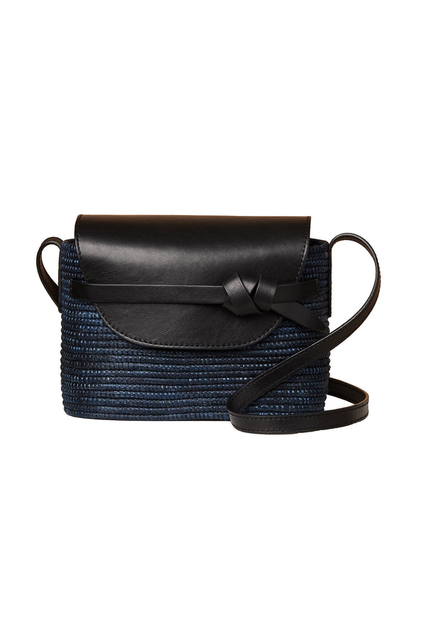 Navy blue basket and black leather crossbody by Cesta Collective
