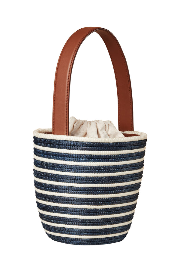 Navy stripe natural basket Full Breton Lunchpail bag by Cesta Collective