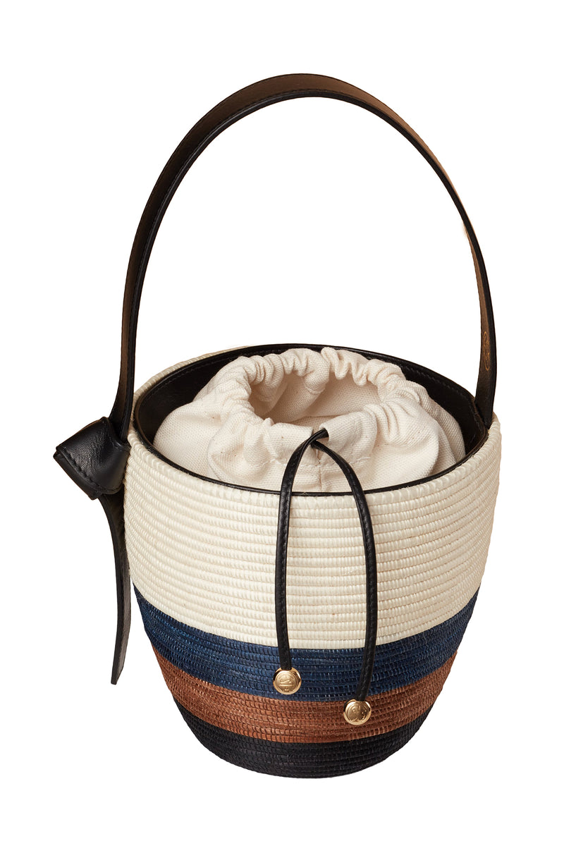 Natural, Navy, Camel, and Black Tri-Stripe Lunchpail basket bag by Cesta Collective