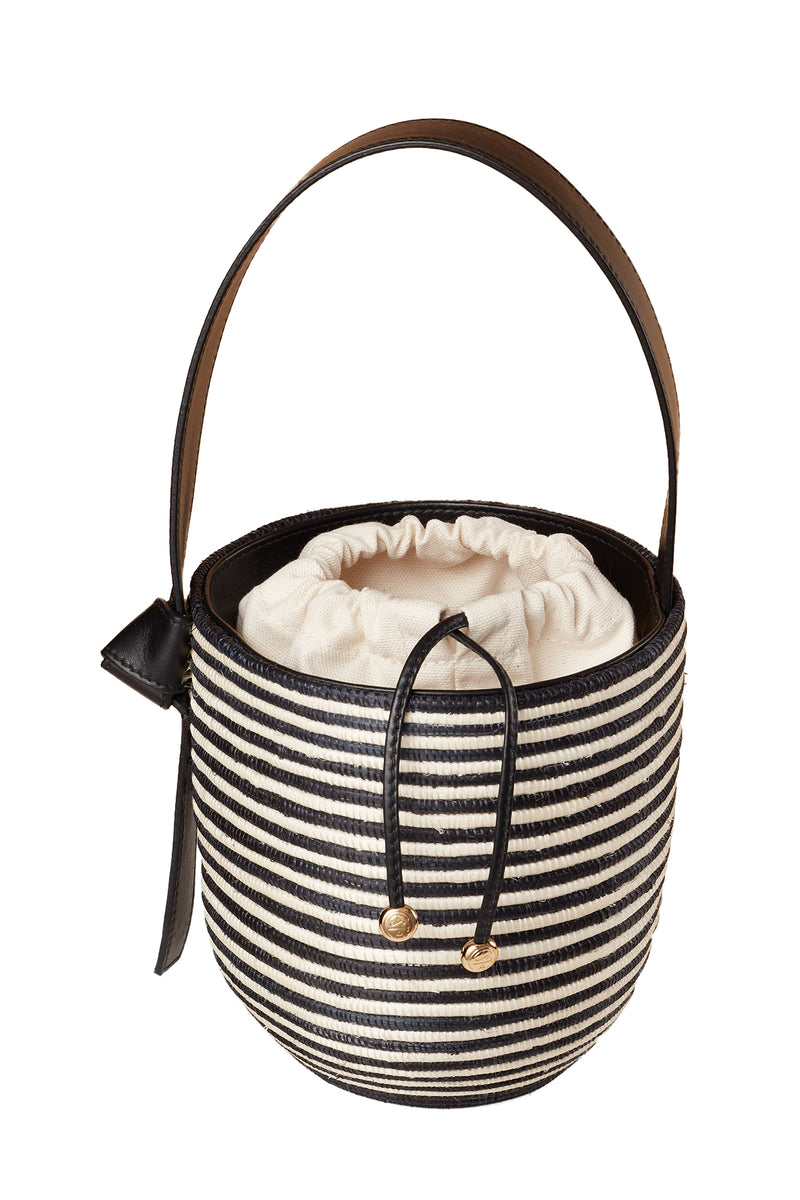 Black and cream Zebra Lunchpail basket bag by Cesta Collective
