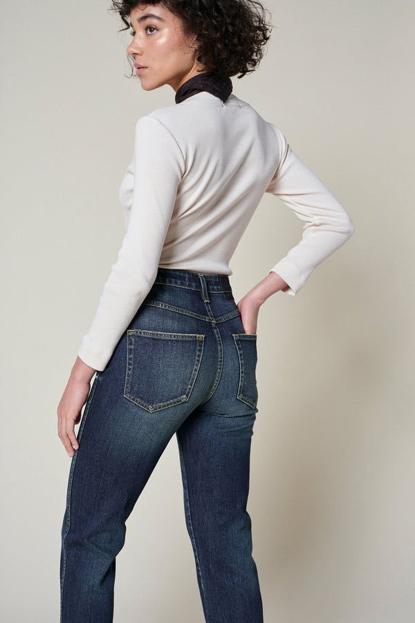 straight leg high-rise true blue Chloe Crop Jean by AMO Denim