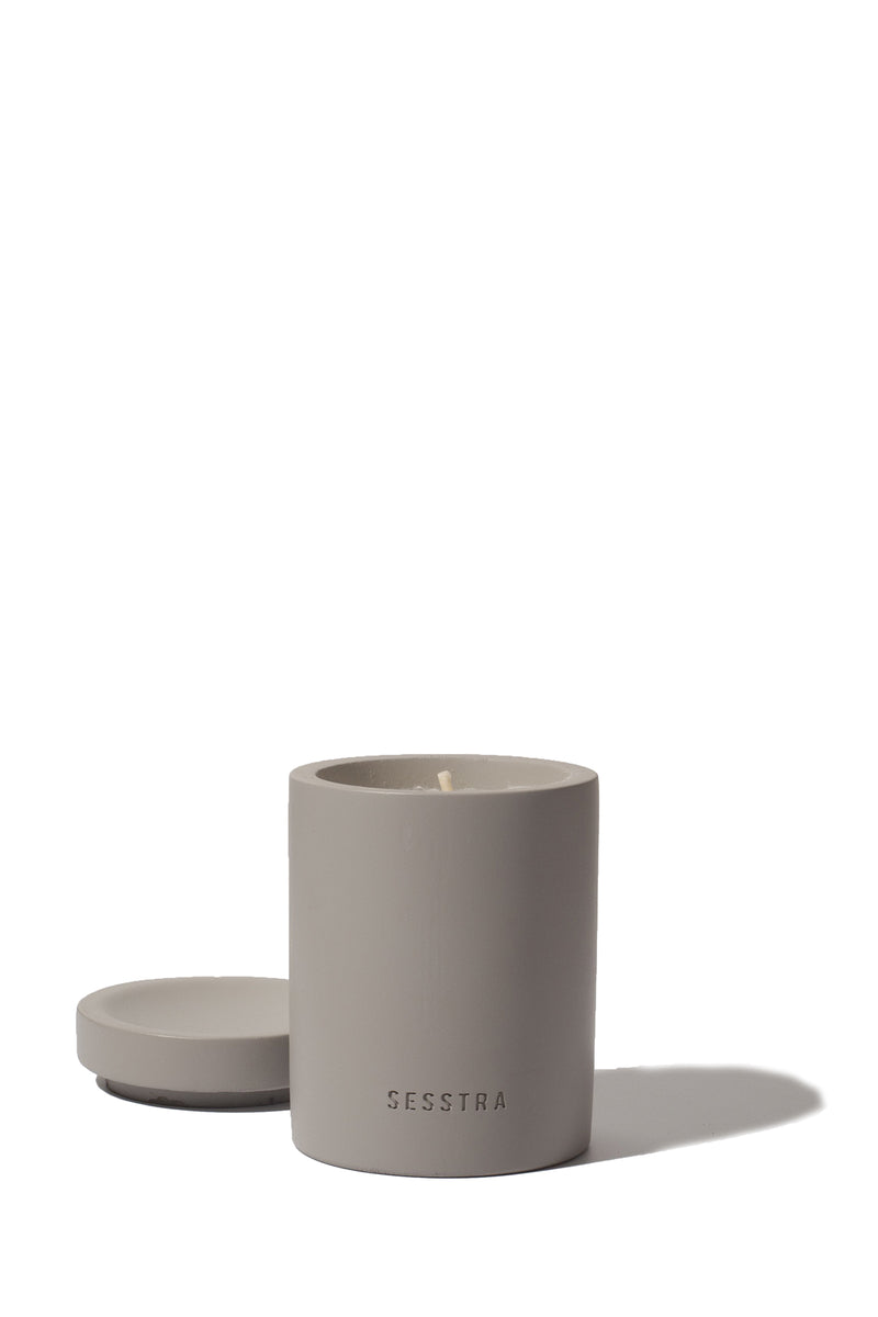 Juniper and sage scented candle in gray concrete jar from Sesstra