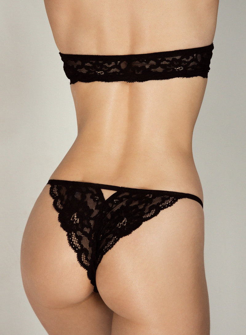 Black Charlotte Lace Seamless String Cheeky by Fleur du Mal