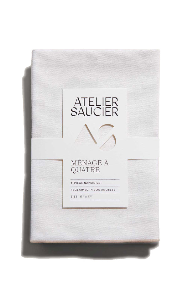 Cream Burlap Napkins with crème accents | Atelier Saucier