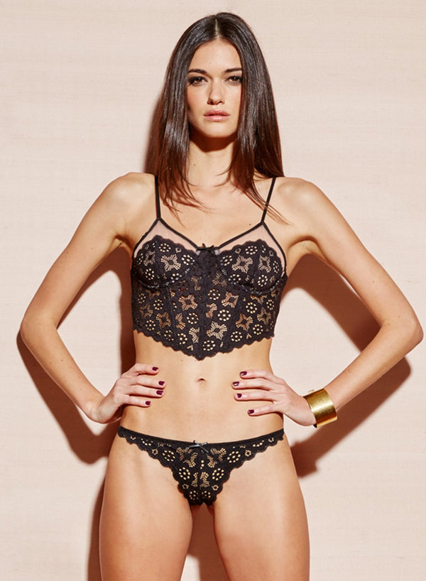 Black Crochet Lace Slim Thong by Fleur du Mal