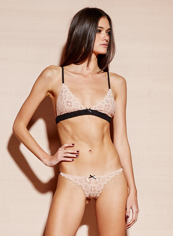 Crochet Lace Slim Thong in Blush by Fleur du Mal
