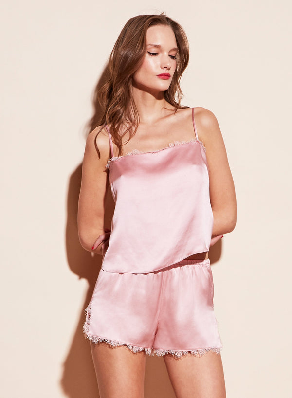 Pink Straight Neck Cami with Lace Trim by Fleur du Mal