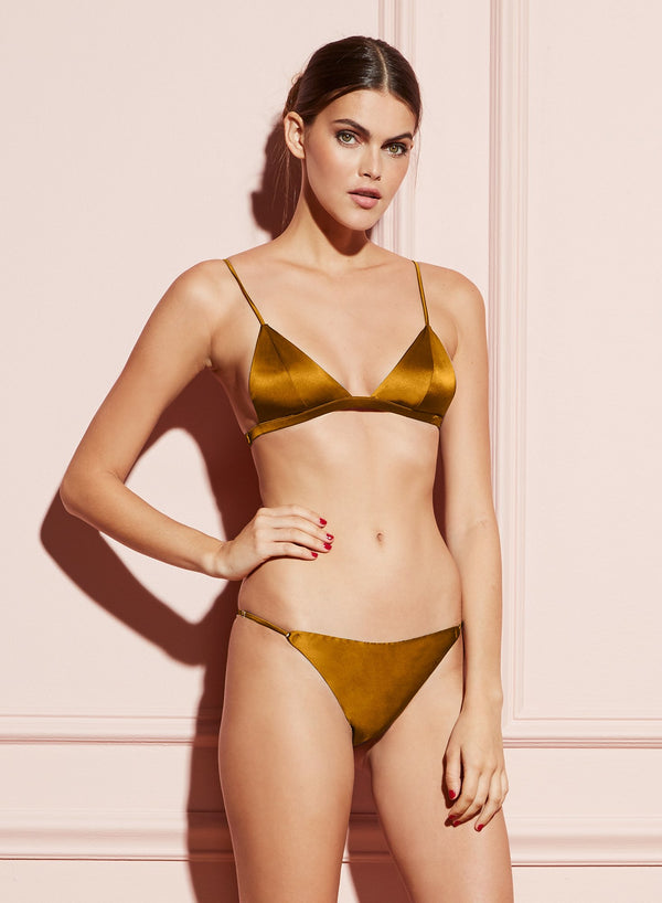Gold Digger Luxe Triangle Bra by Fleur du Mal