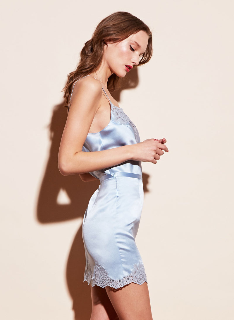 James Lace Trim Cami in Icy Blue by Fleur du Mal