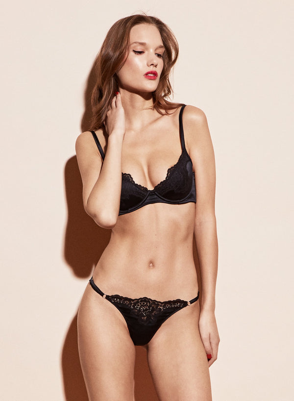 Black James Lace Padded Demi Bra by Fleur du Mal