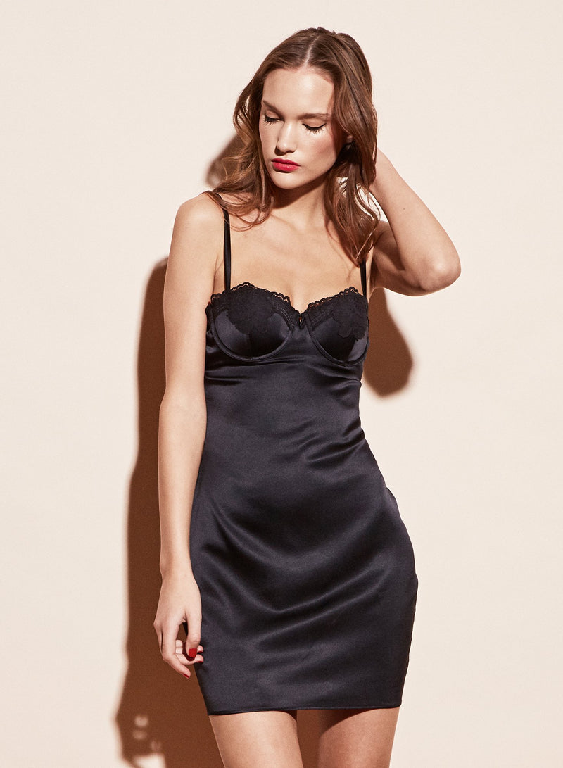 James Lace Cupped Slip in Black by Fleur du Mal