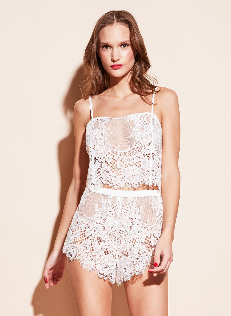 Allover Lace Tap Shorts in Ivory by Fleur du Mal