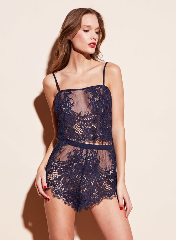 Allover Lace Cami in Spring Indigo by Fleur du Mal