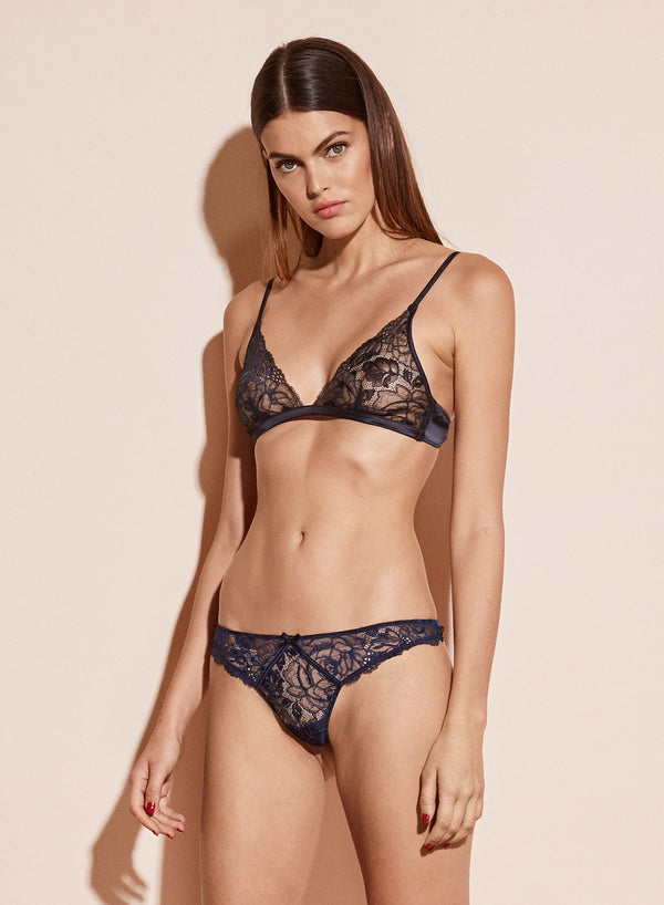 Chateau Lace Thong in Spring Indigo by Fleur du Mal