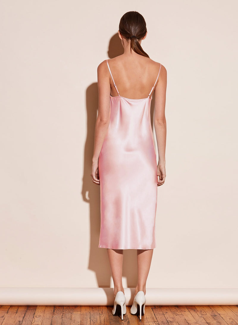 Cowl Neck Slip Dress with Slit in Coral Blush by Fleur du Mal