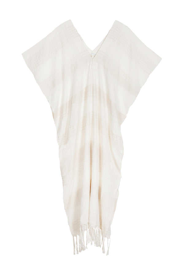 Naila Soft Striped Cream Caftan by Pondicherie