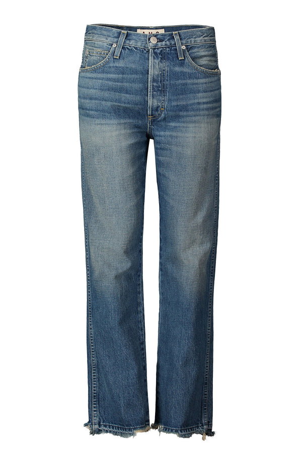medium wash straight leg frayed Layla Jean by AMO Denim