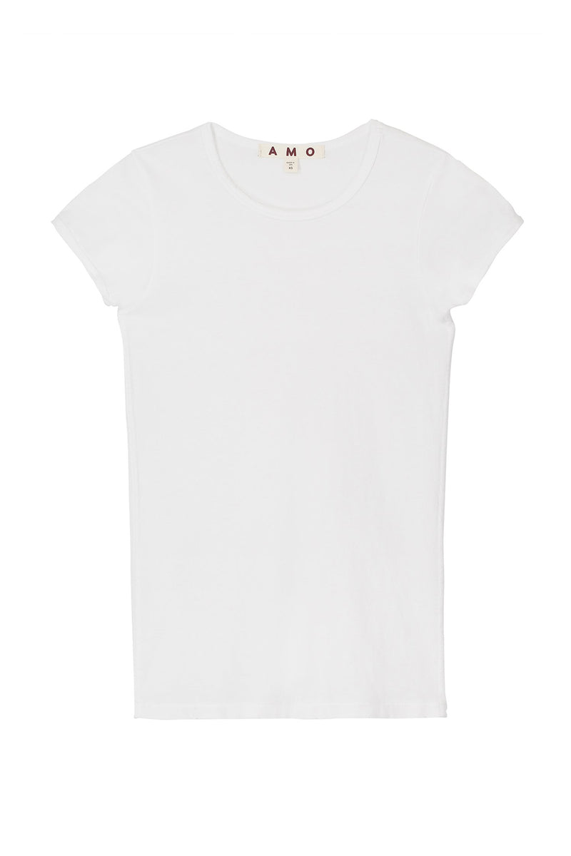 classic distressed plain white Fitted Baby Tee by AMO Denim