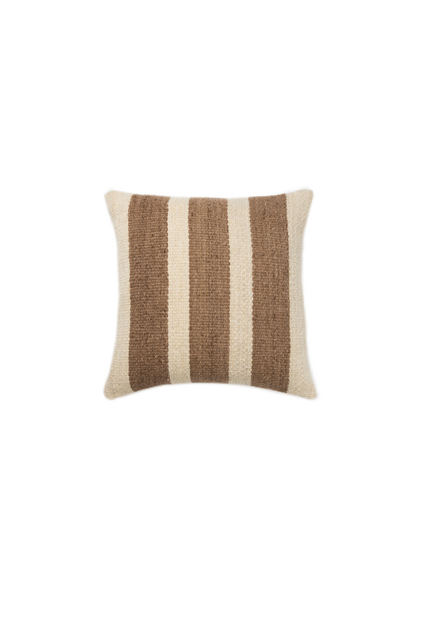 Joya Handwoven Pillow in Ivory and Cocoa Stripes by Sien + Co
