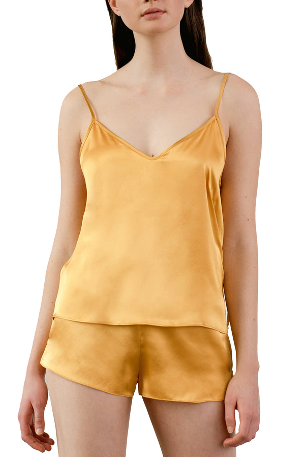 KAM Organic Silk Camisole, on model in amber | Kent — paired with OH shorts