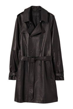 Black leather trench coat from Nili Lotan