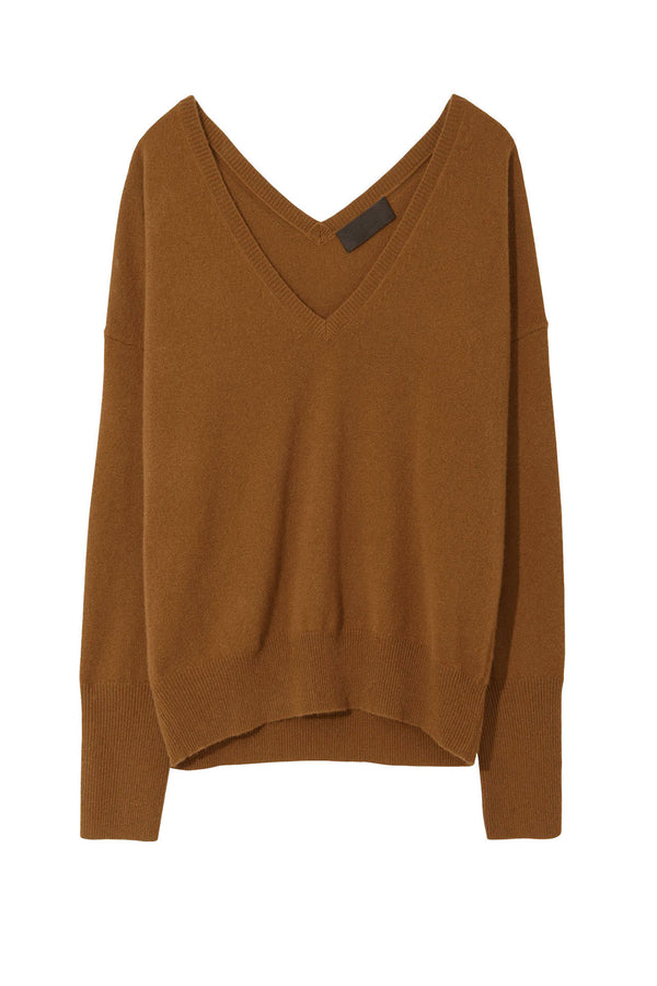 Brown v-neck cashmere sweater by Nili Lotan
