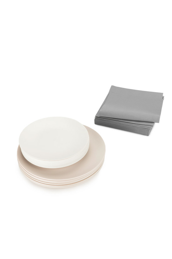 The Entertaining Essentials Set neutral and grey plates and napkins by l'entramise