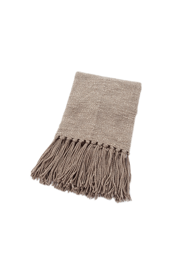 Linda Handwoven Wool Throw in Greige by Sien + Co