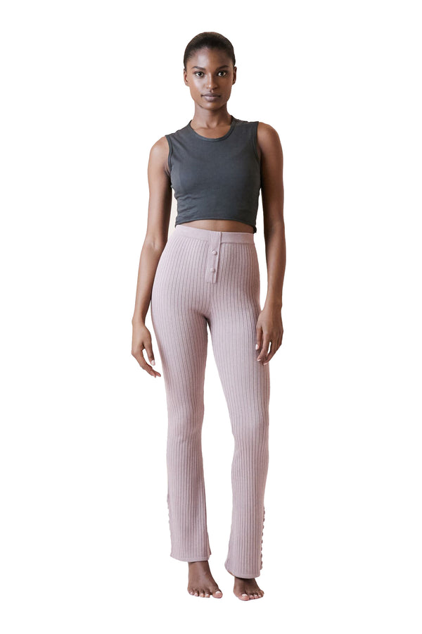 Flare Pant in Mauve Melange by Live The Process