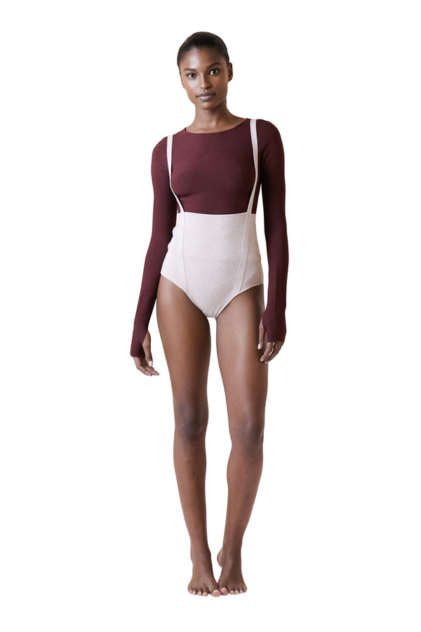 Mauve Melange Suspender Leotard by Live The Process
