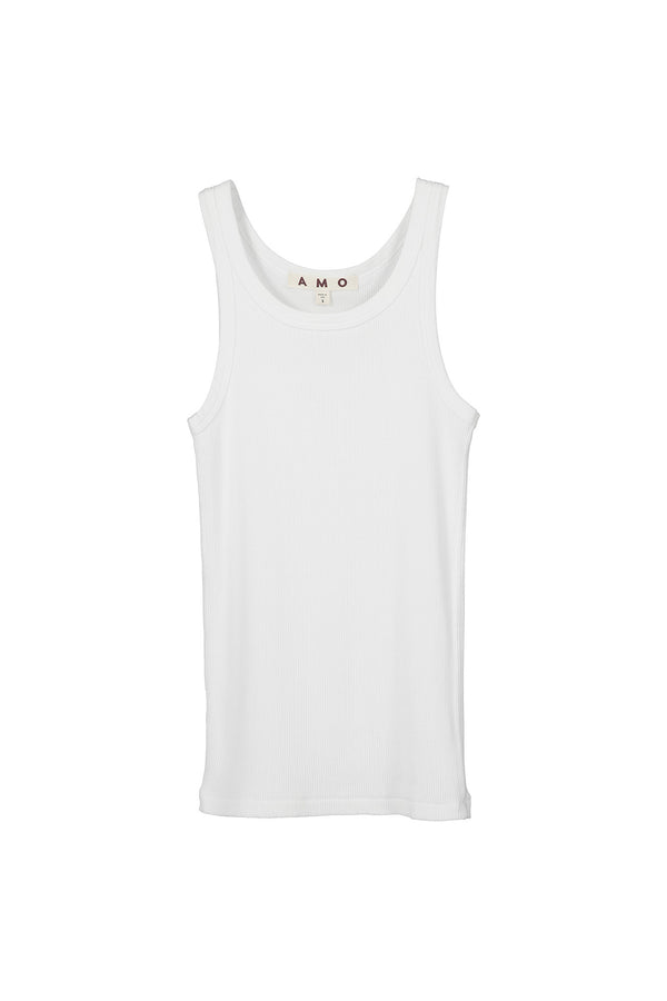 white Long Rib Tank by AMO Denim