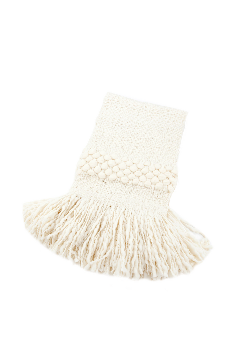 Luna Handwoven Wool Throw in Ivory by Sien + Co