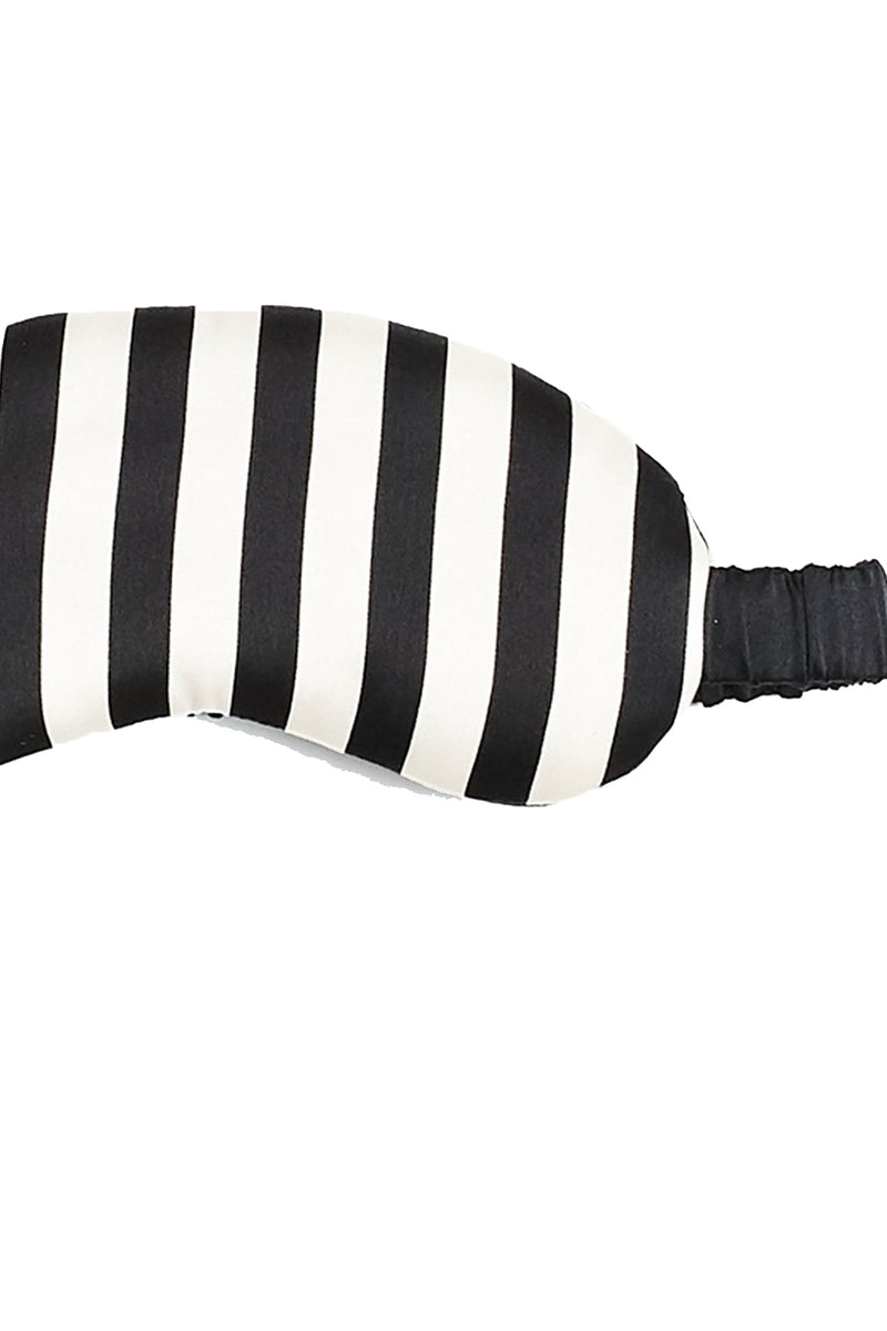 Black and white striped sleep mask with silk pouch from Morgan Lane