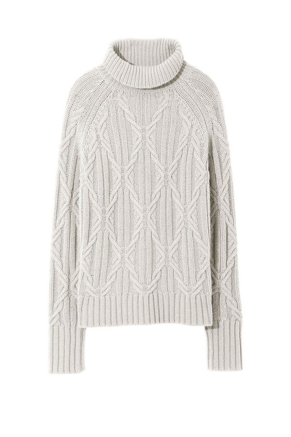 White cable knit turtleneck sweater from Nili Lotan
