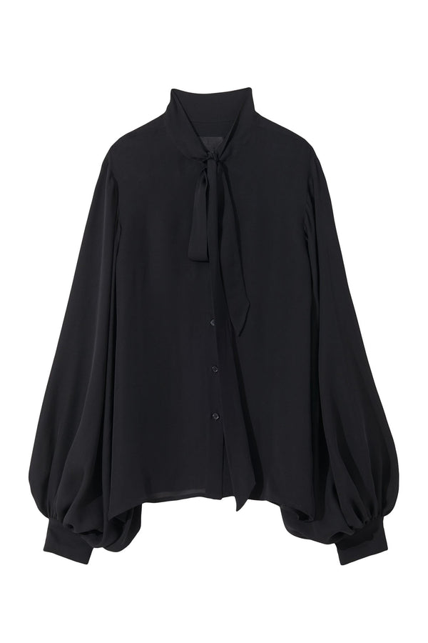 Black long sleeve silk blouse with bow neck collar from Nili Lotan